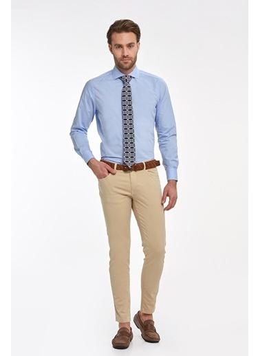 Hemington Açık Mavi Italyan Yaka Pamuk Business Gömlek Mavi